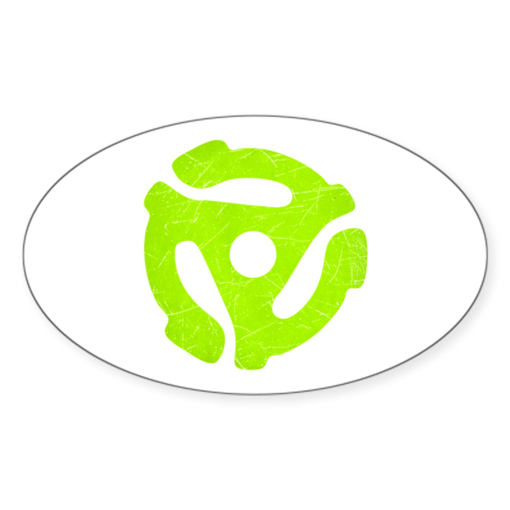 Lime Green Distressed 45 RPM Adapter Oval Sticker