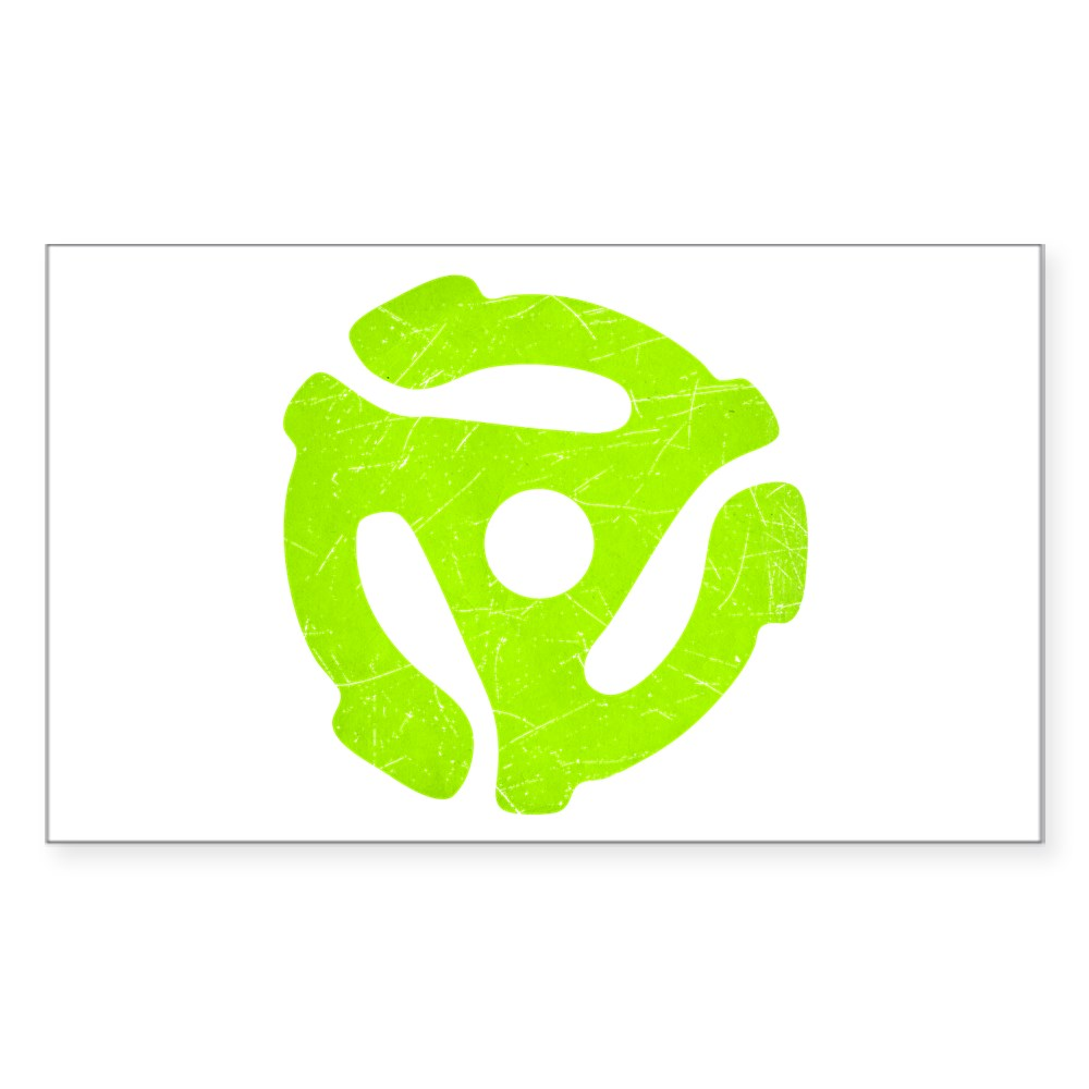 Lime Green Distressed 45 RPM Adapter Rectangle Sticker