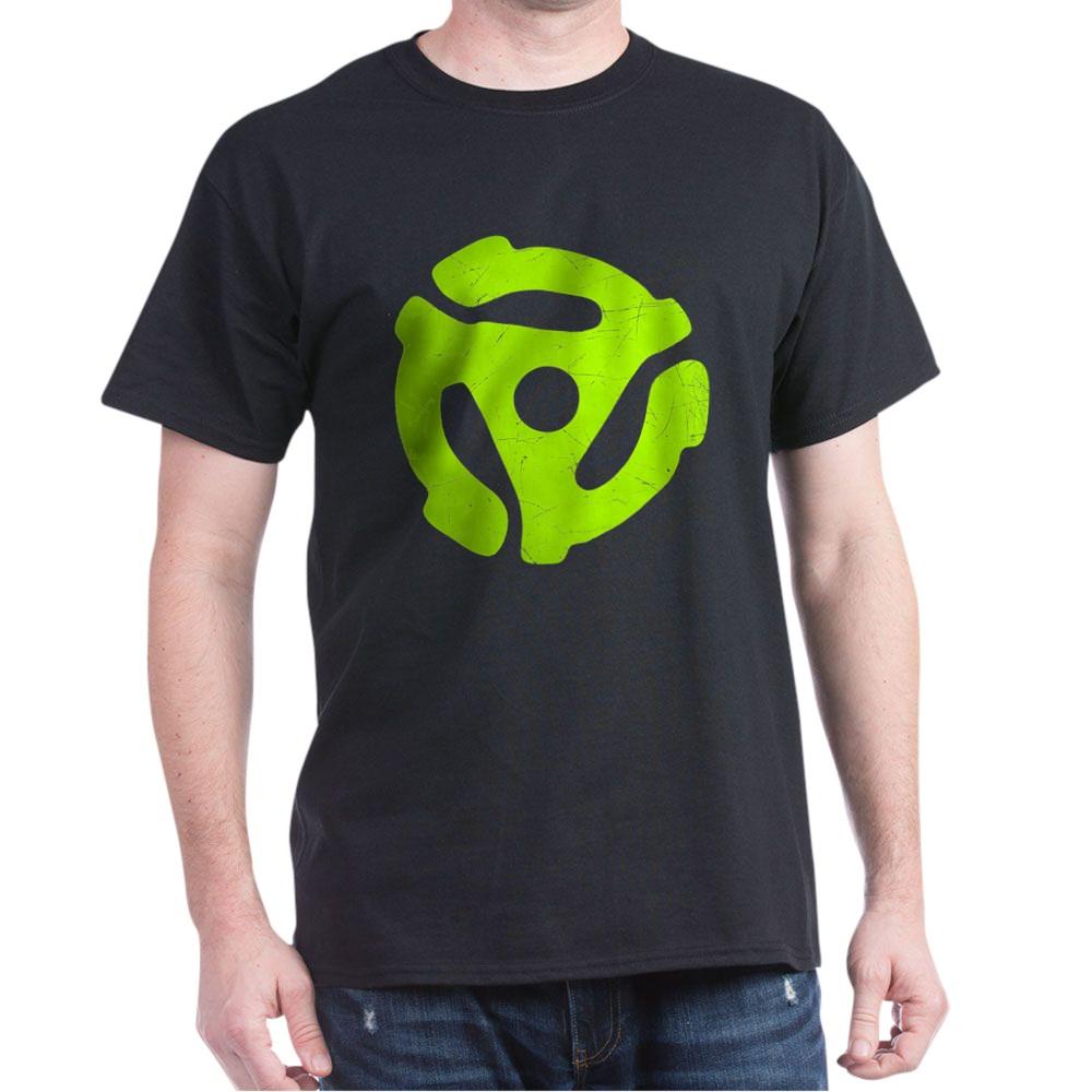 Lime Green Distressed 45 RPM Adapter Dark T-Shirt