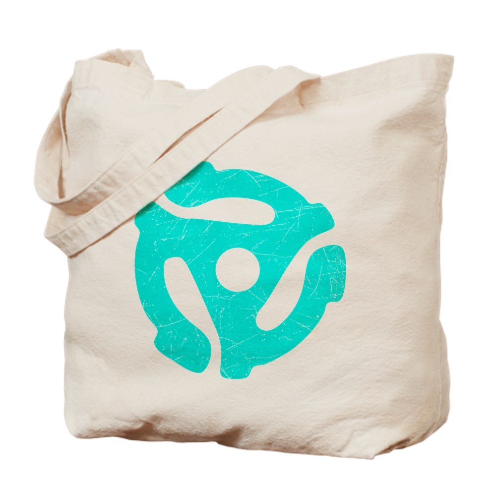 Turquoise  Distressed 45 RPM Adapter Tote Bag