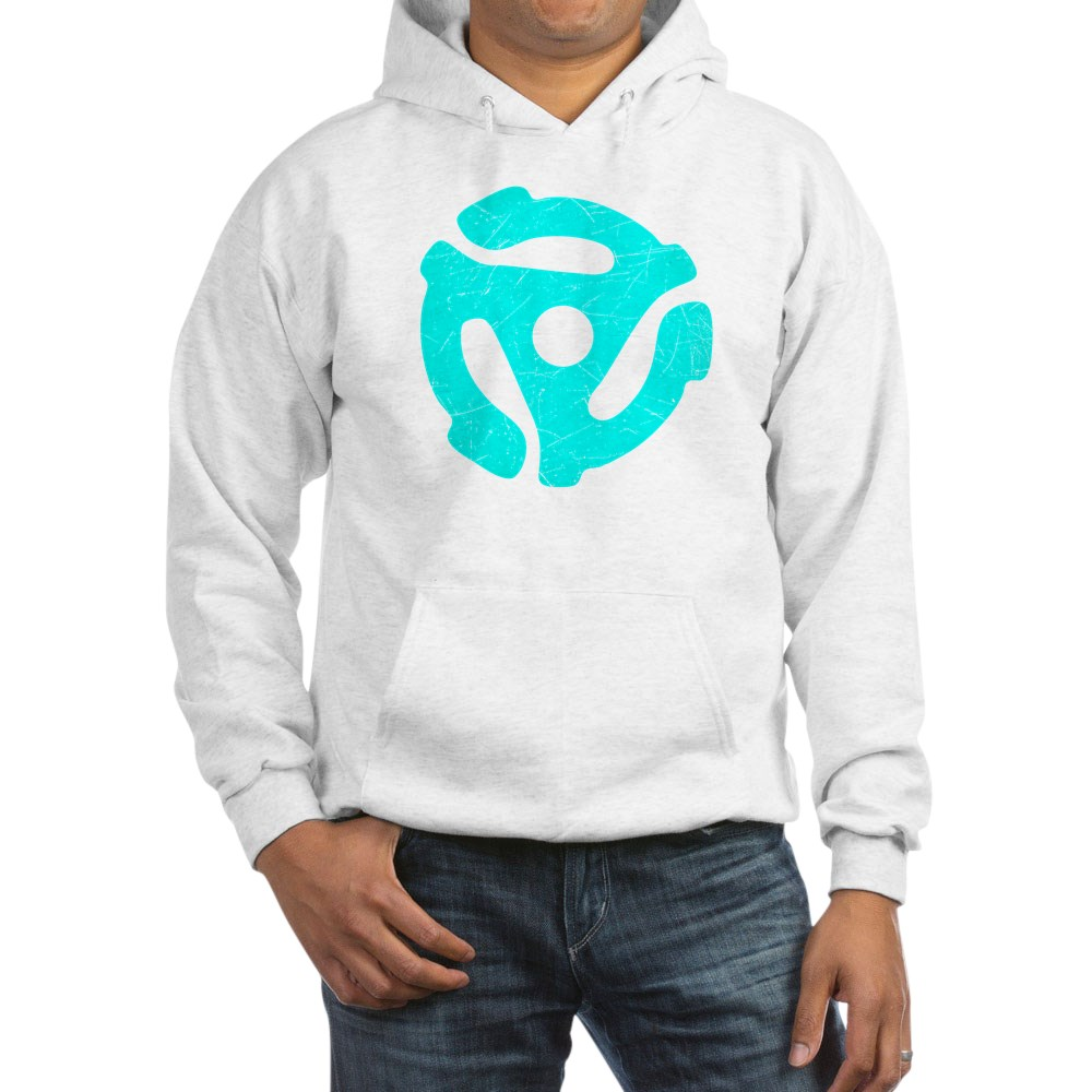Turquoise  Distressed 45 RPM Adapter Hooded Sweatshirt