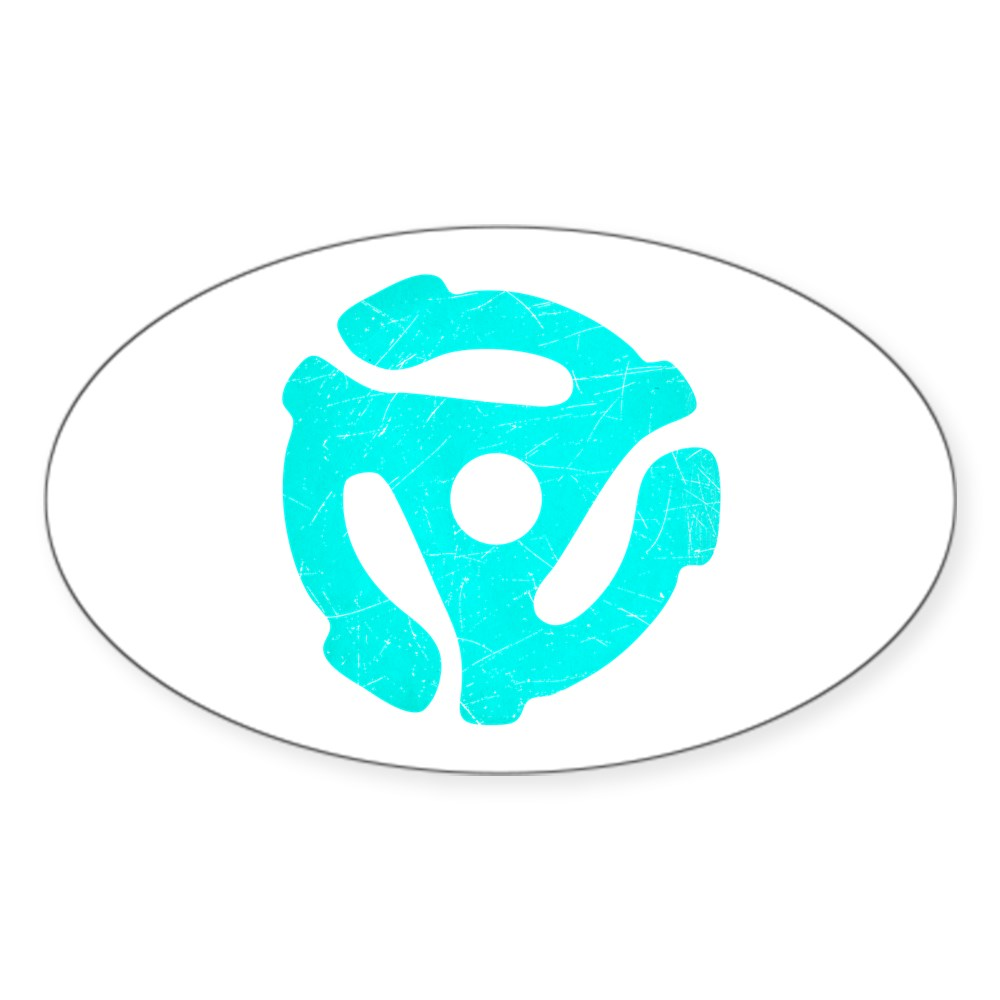 Turquoise  Distressed 45 RPM Adapter Oval Sticker