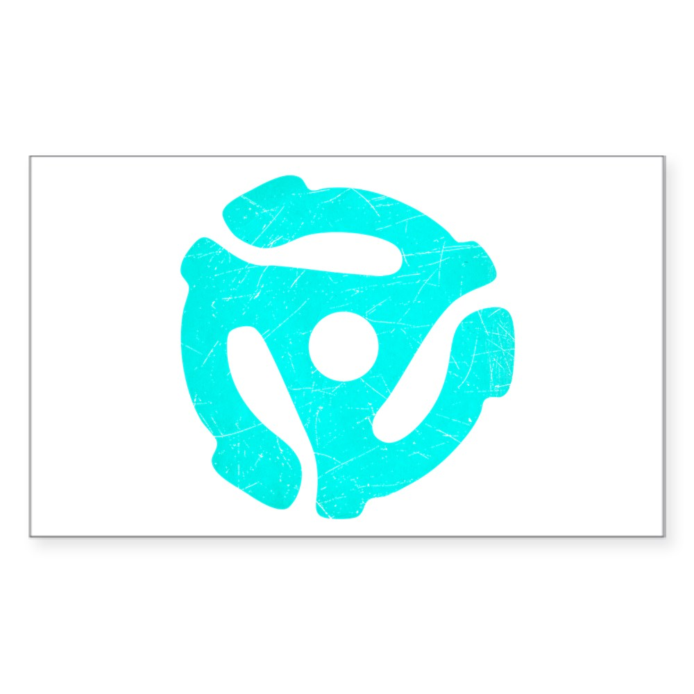 Turquoise  Distressed 45 RPM Adapter Rectangle Sticker