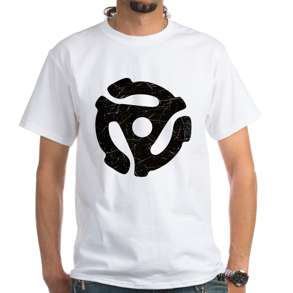 Black Distressed 45 RPM Adapter White T-Shirt