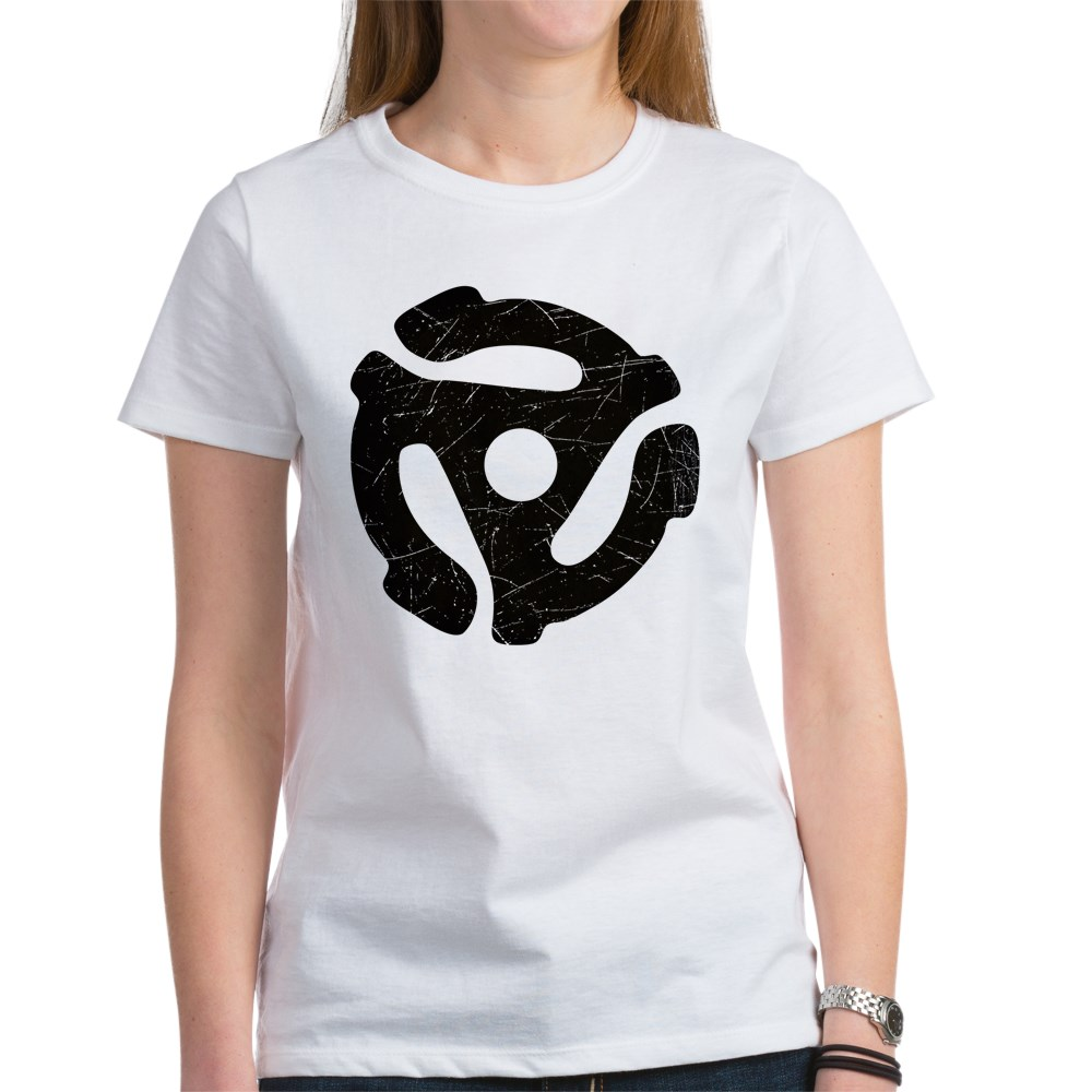 Black Distressed 45 RPM Adapter Women's T-Shirt