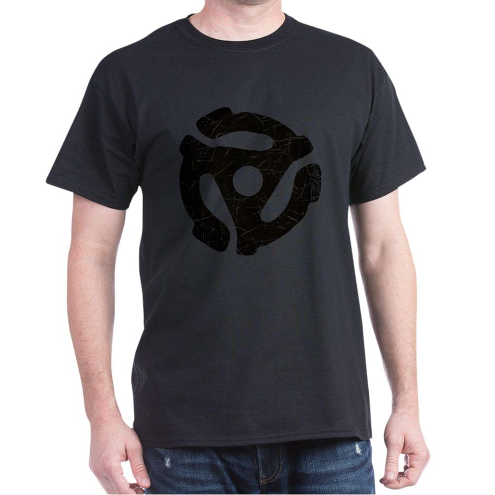 Black Distressed 45 RPM Adapter Dark T-Shirt