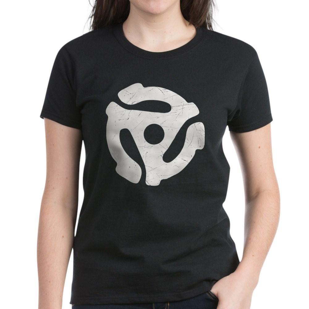 White Distressed 45 RPM Adapter Women's Dark T-Shirt