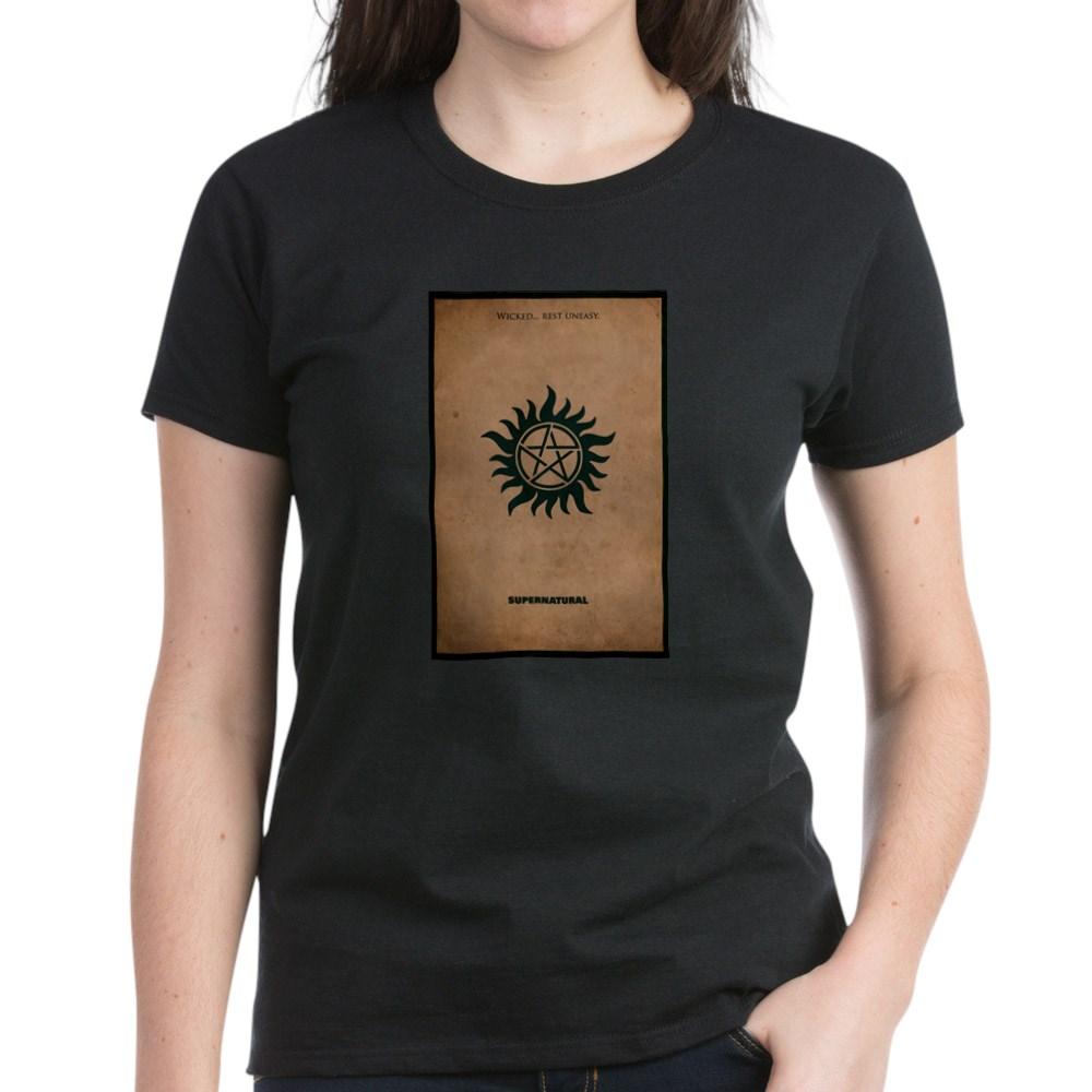 Supernatural MInimalist Poster Design Women's Dark T-Shirt