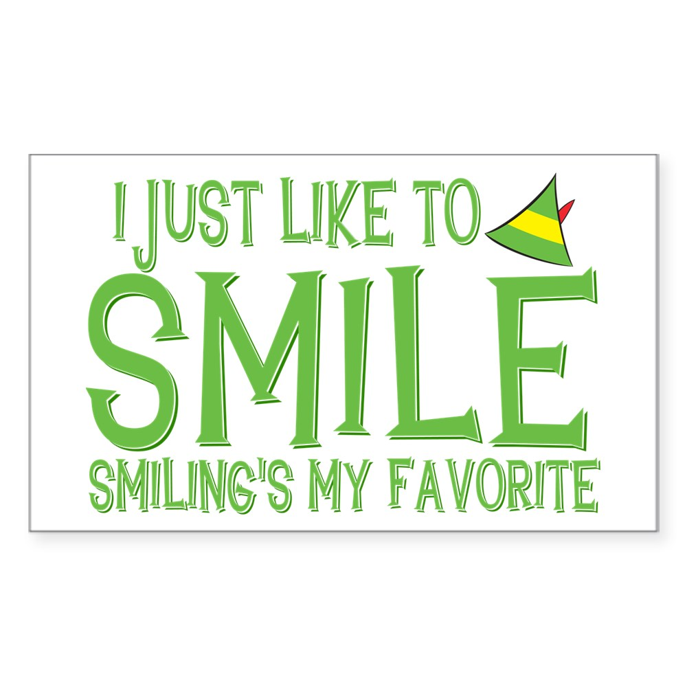 I Just Like to Smile, Smiling's My Favorite Rectangle Sticker