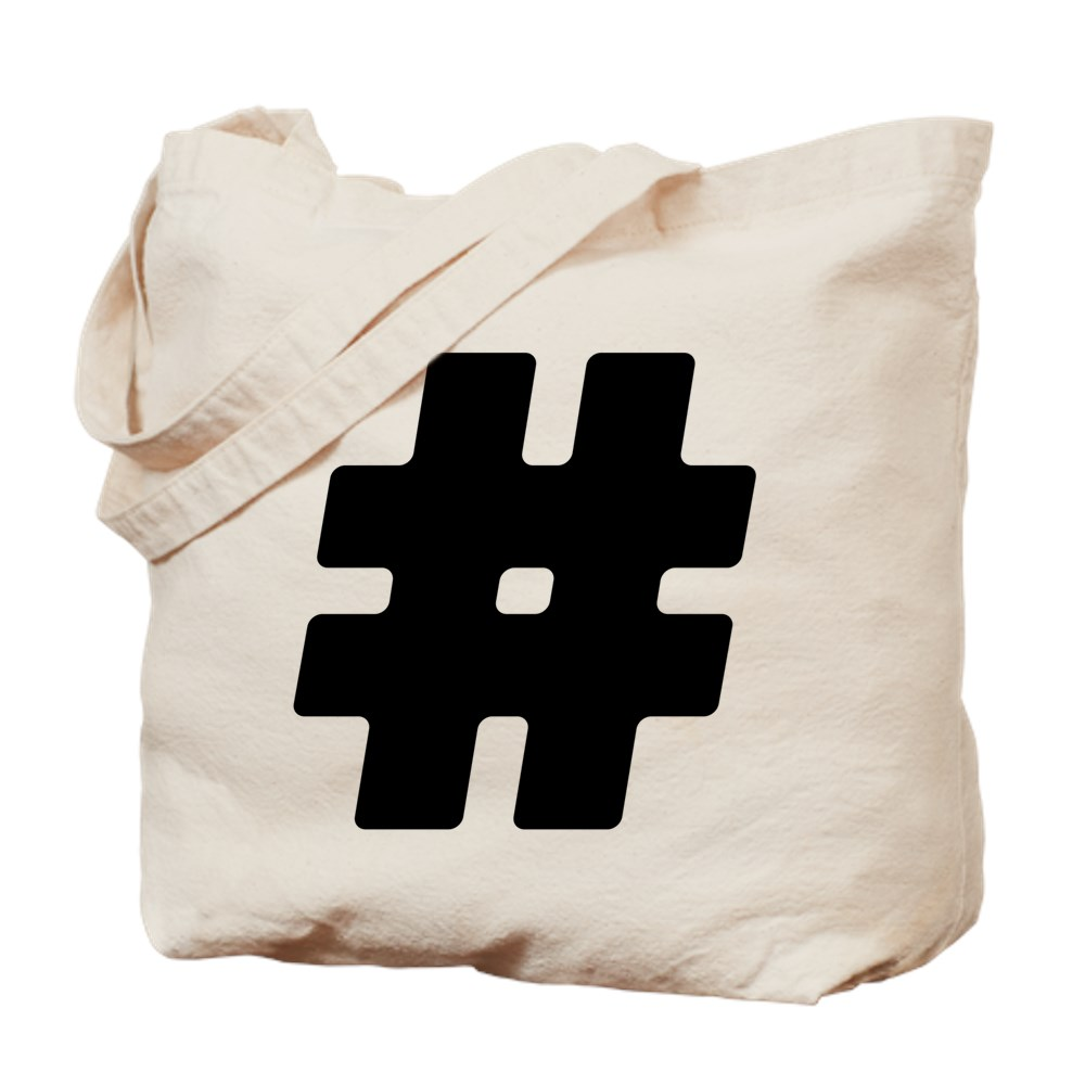 Black #Hashtag Tote Bag