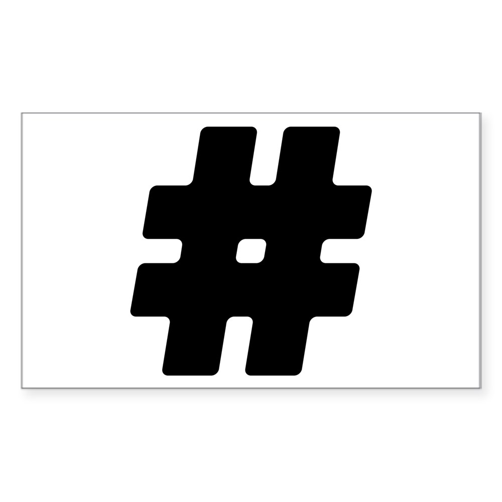 Black #Hashtag Rectangle Sticker