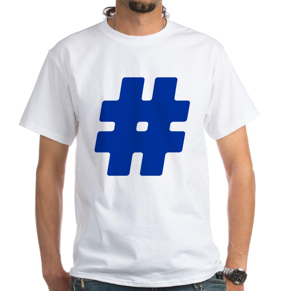 Blue #Hashtag White T-Shirt