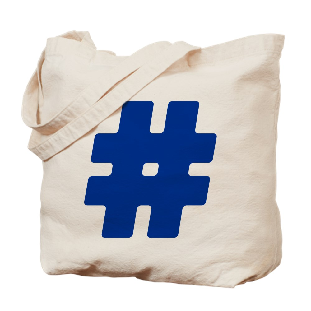 Blue #Hashtag Tote Bag