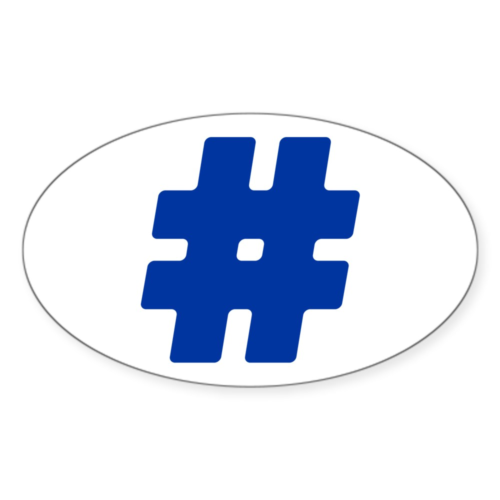 Blue #Hashtag Oval Sticker