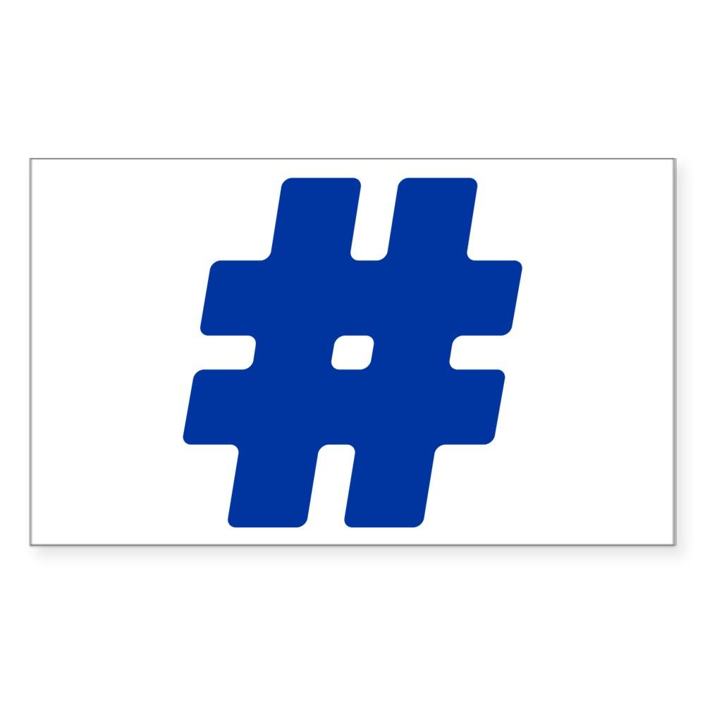 Blue #Hashtag Rectangle Sticker