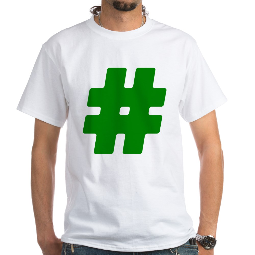 Green #Hashtag White T-Shirt