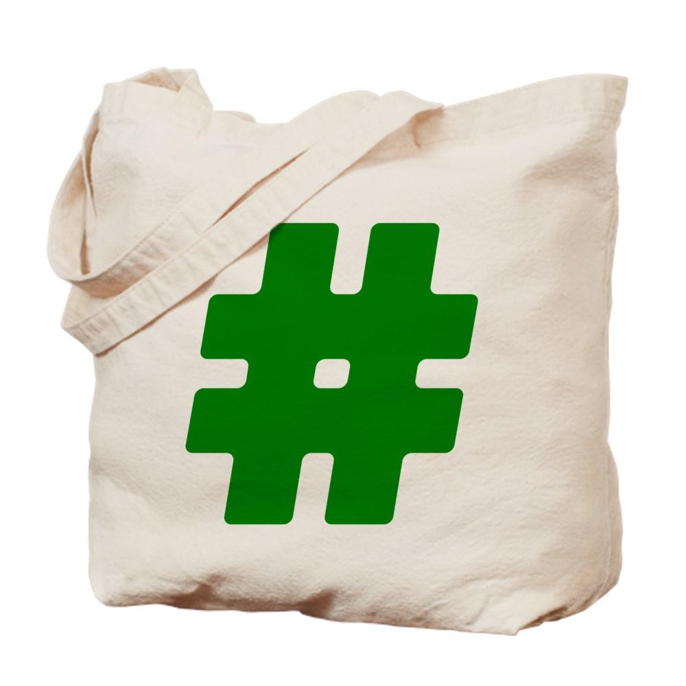 Green #Hashtag Tote Bag