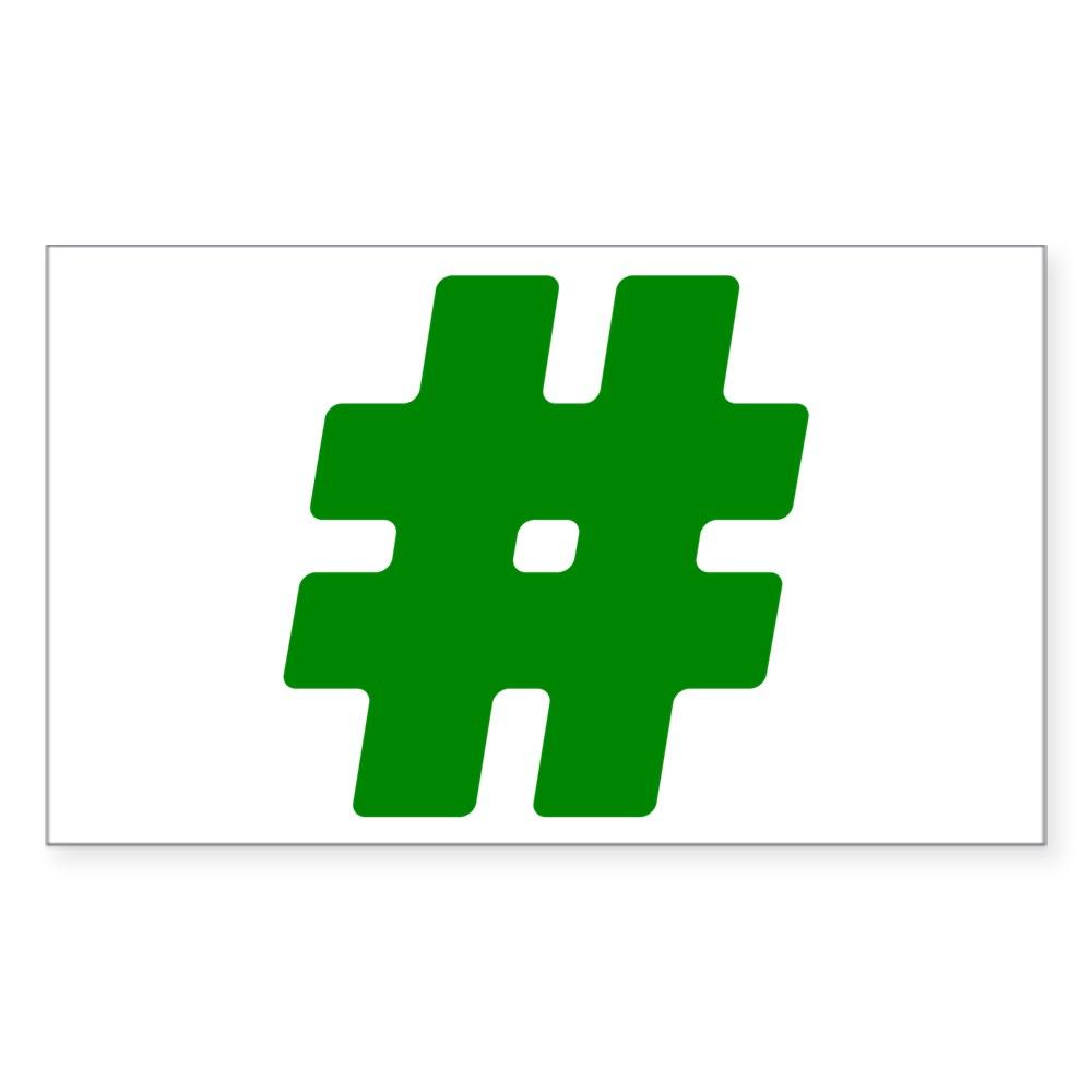 Green #Hashtag Rectangle Sticker