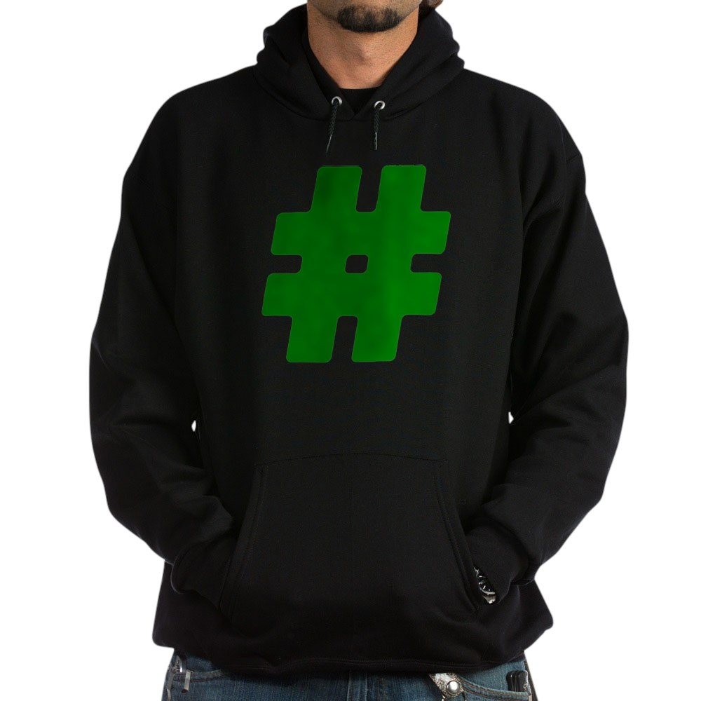 Green #Hashtag Dark Hoodie