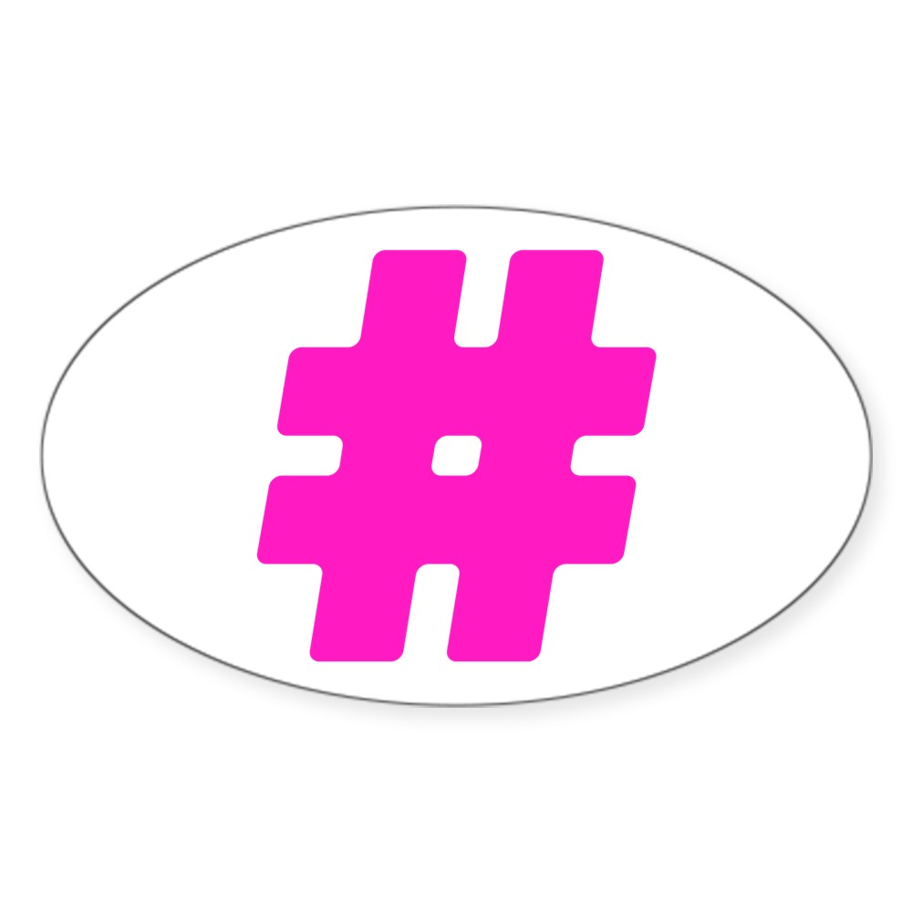 Hot Pink #Hashtag Oval Sticker