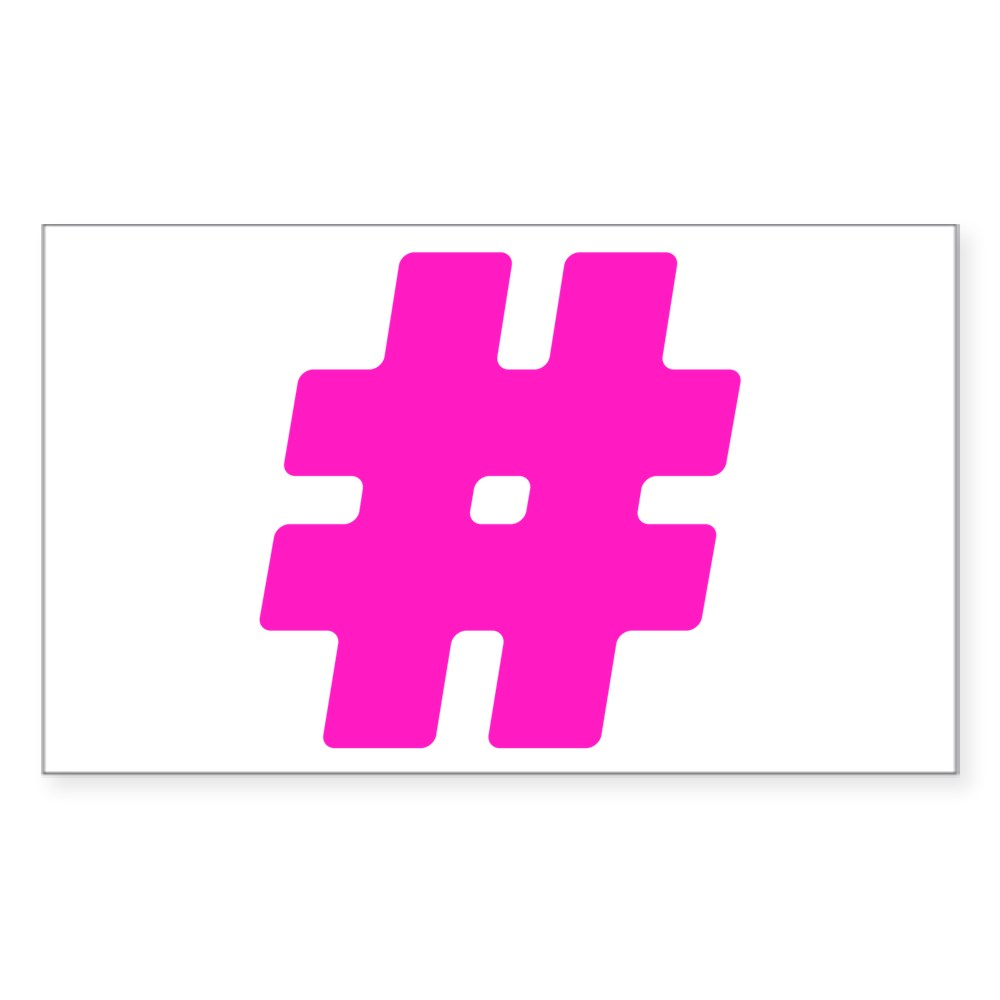 Hot Pink #Hashtag Rectangle Sticker