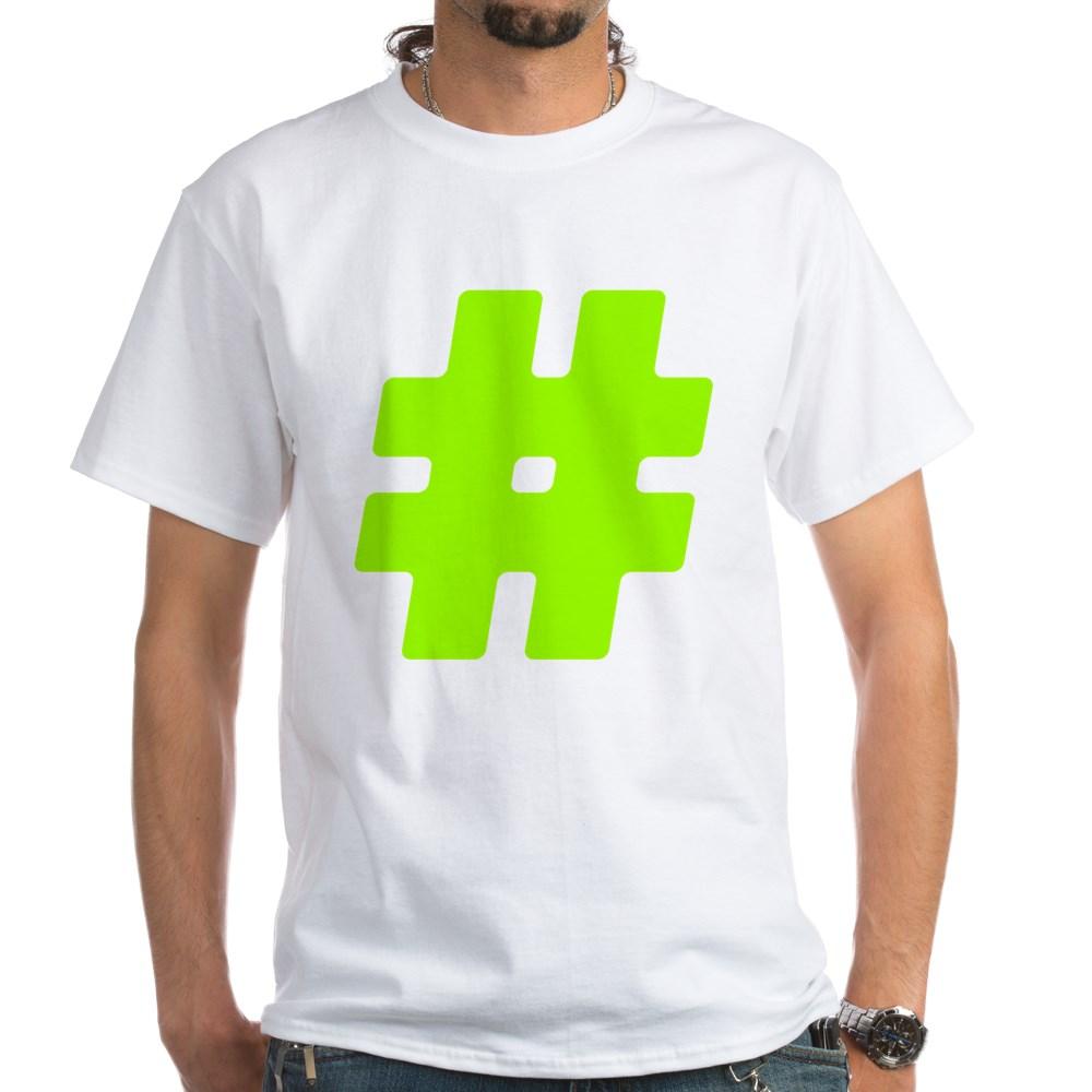 Neon Green #Hashtag White T-Shirt