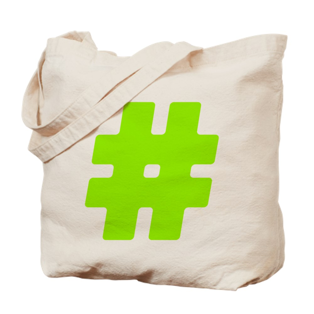 Neon Green #Hashtag Tote Bag