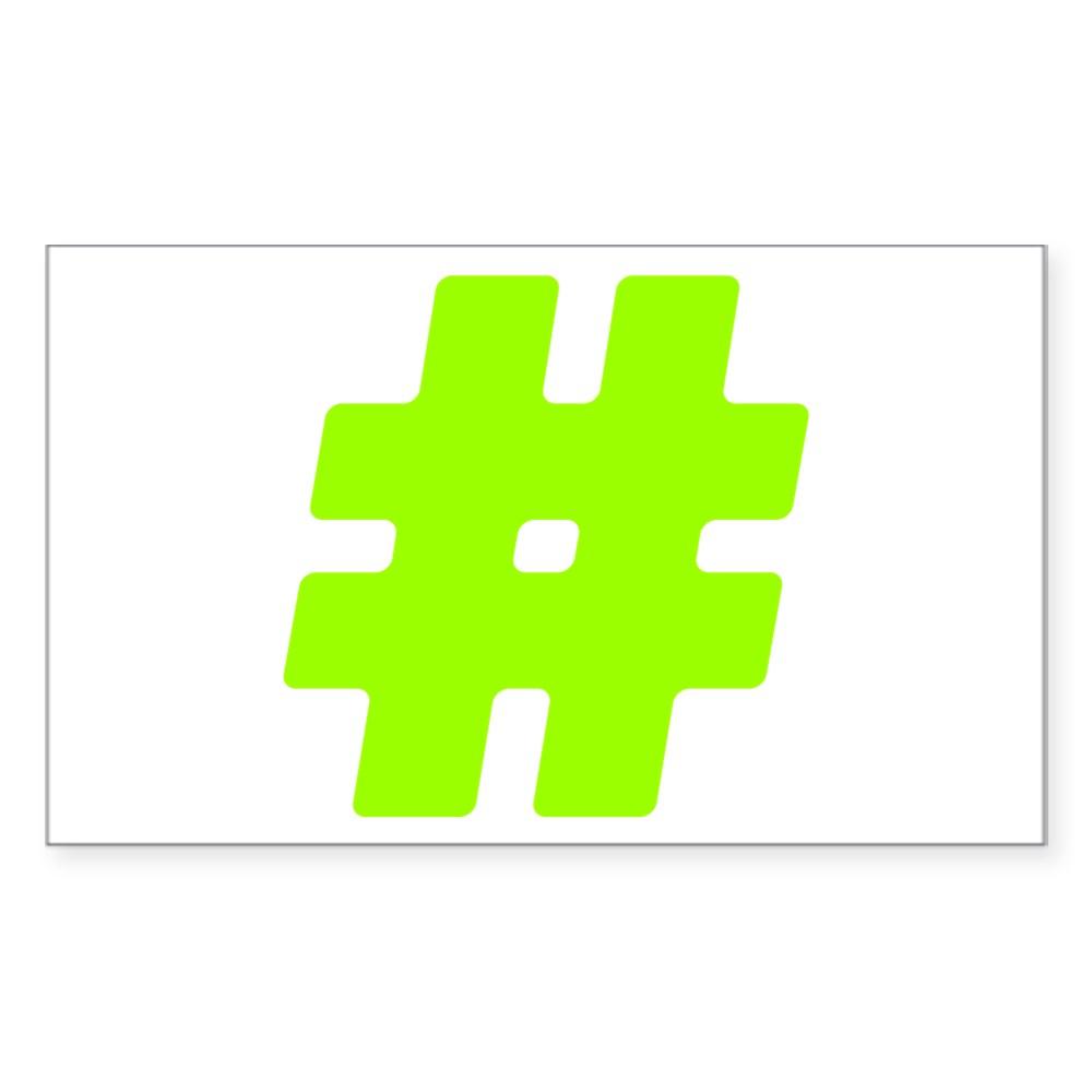 Neon Green #Hashtag Rectangle Sticker