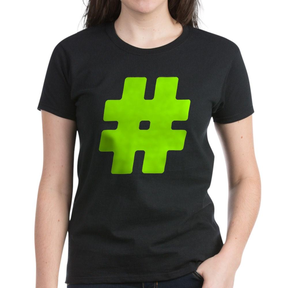 Neon Green #Hashtag Women's Dark T-Shirt