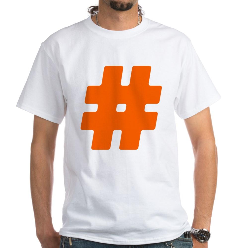 Orange #Hashtag White T-Shirt