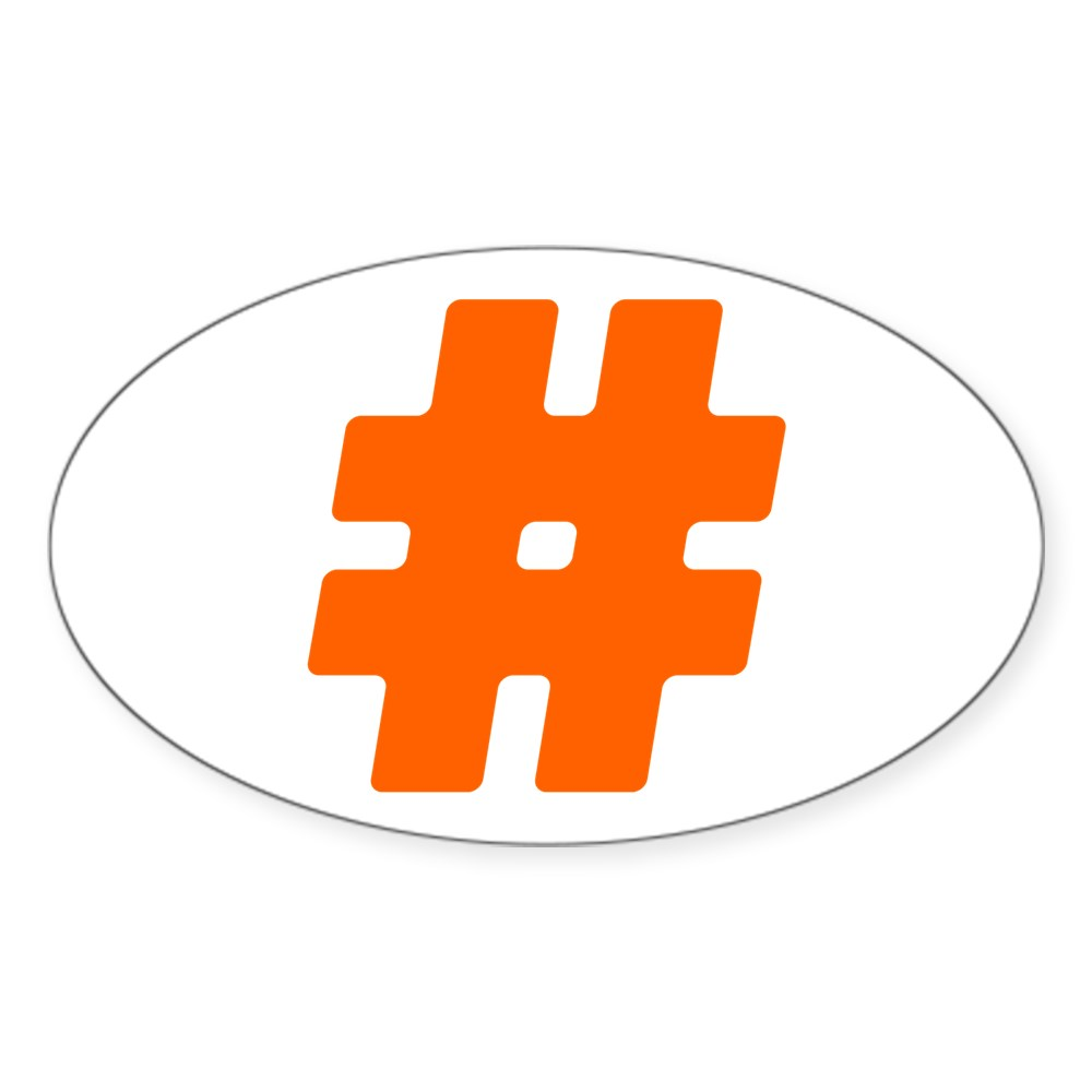 Orange #Hashtag Oval Sticker