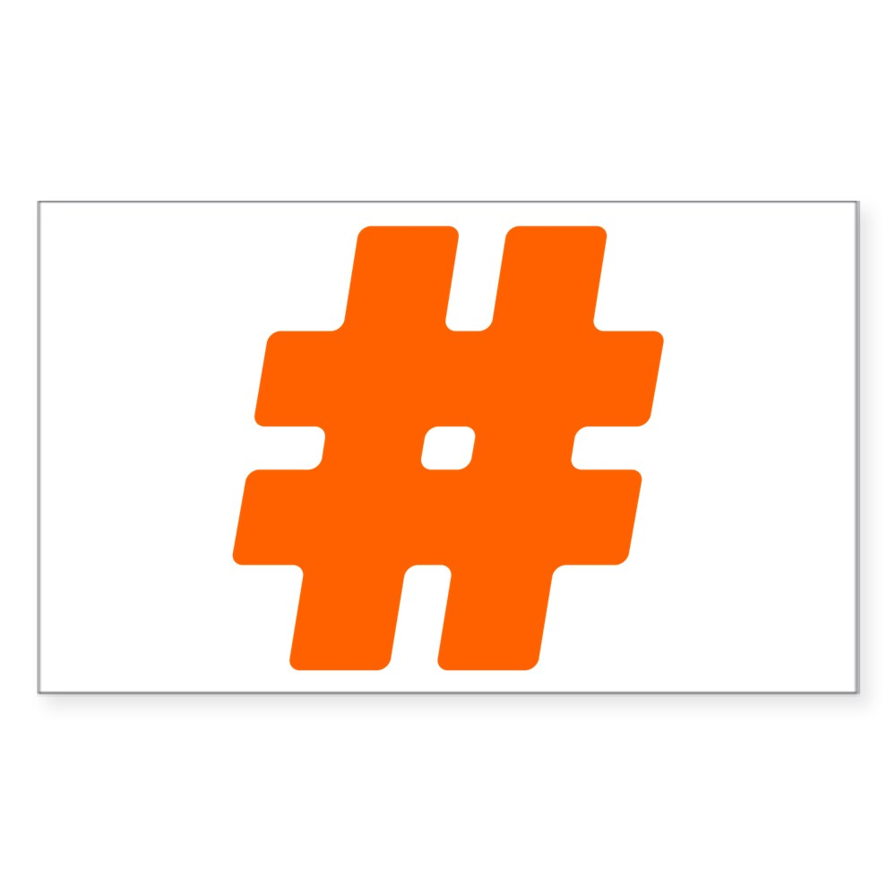 Orange #Hashtag Rectangle Sticker