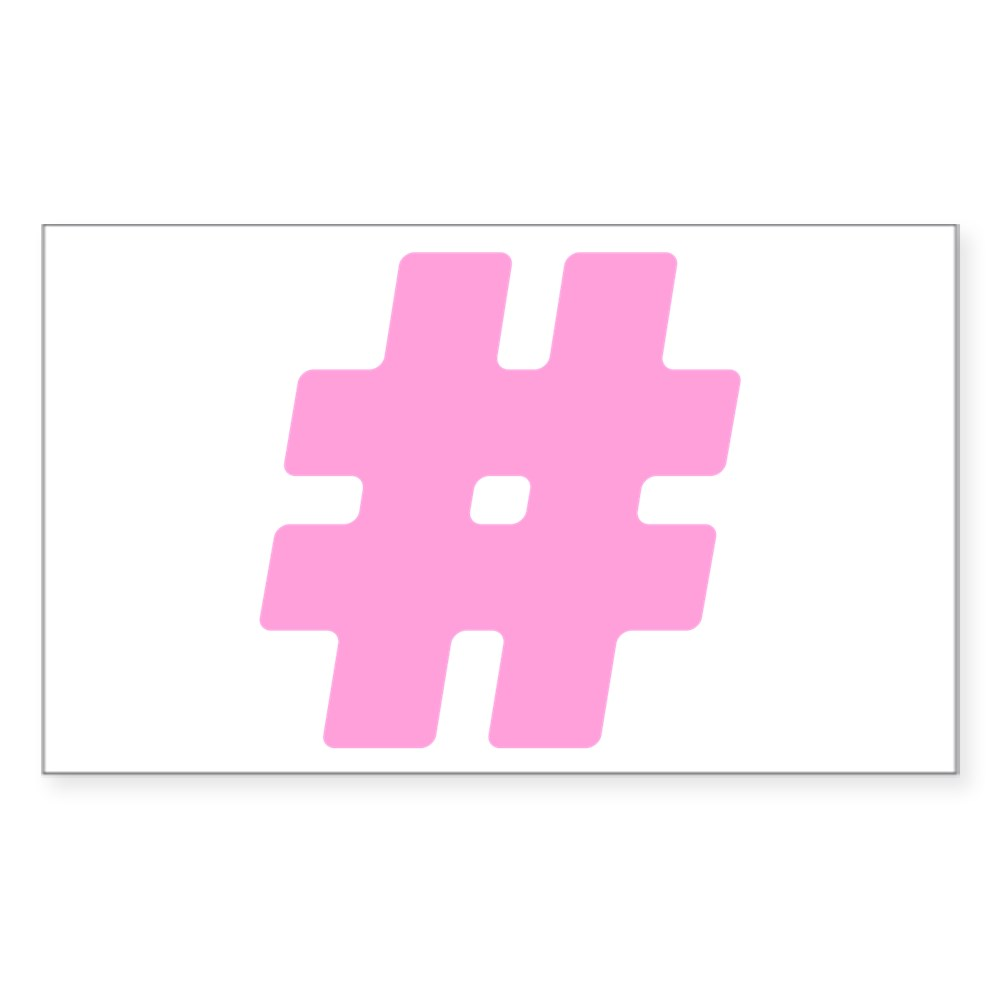 Pink #Hashtag Rectangle Sticker