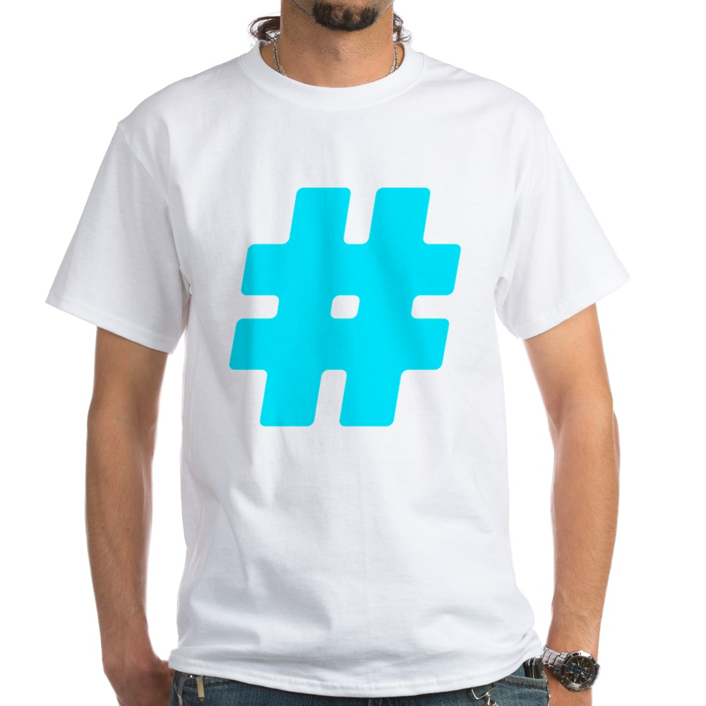 Turquoise #Hashtag White T-Shirt