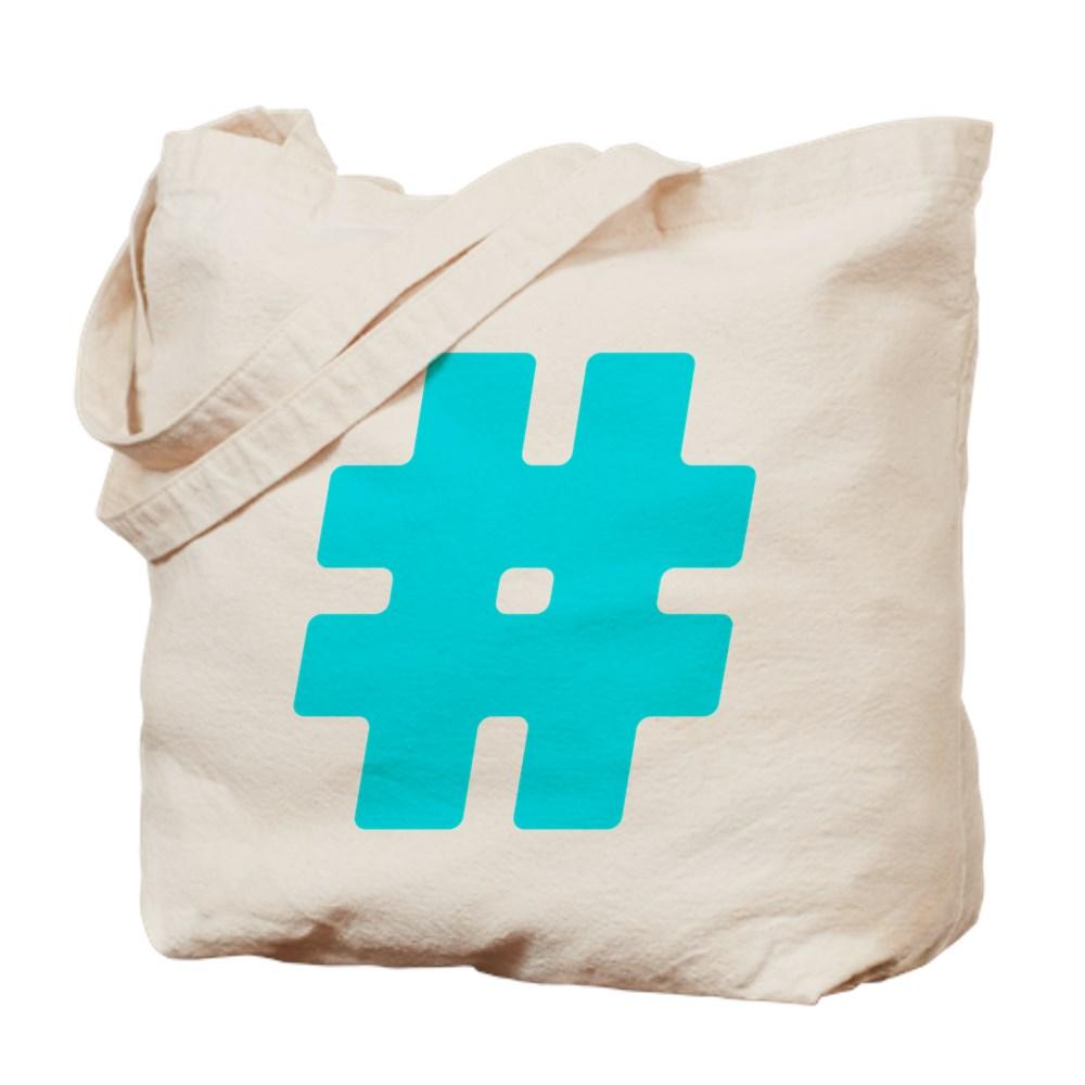 Turquoise #Hashtag Tote Bag