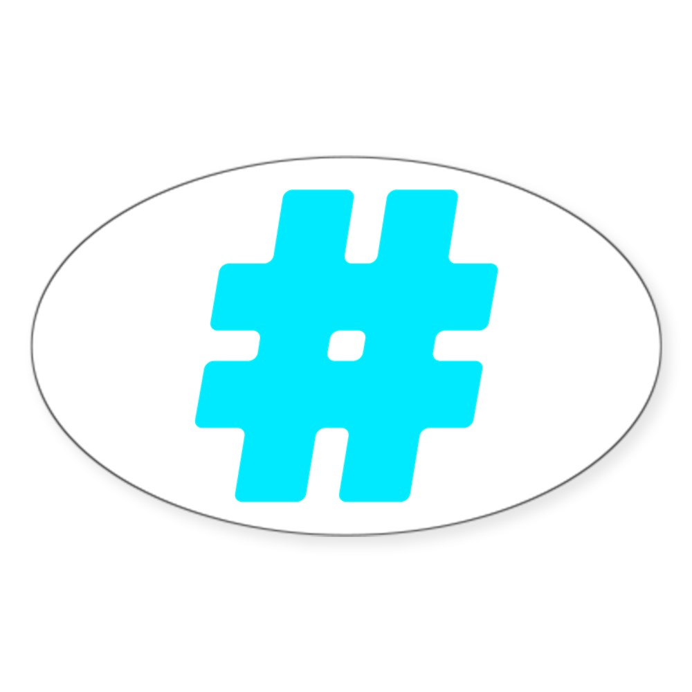 Turquoise #Hashtag Oval Sticker