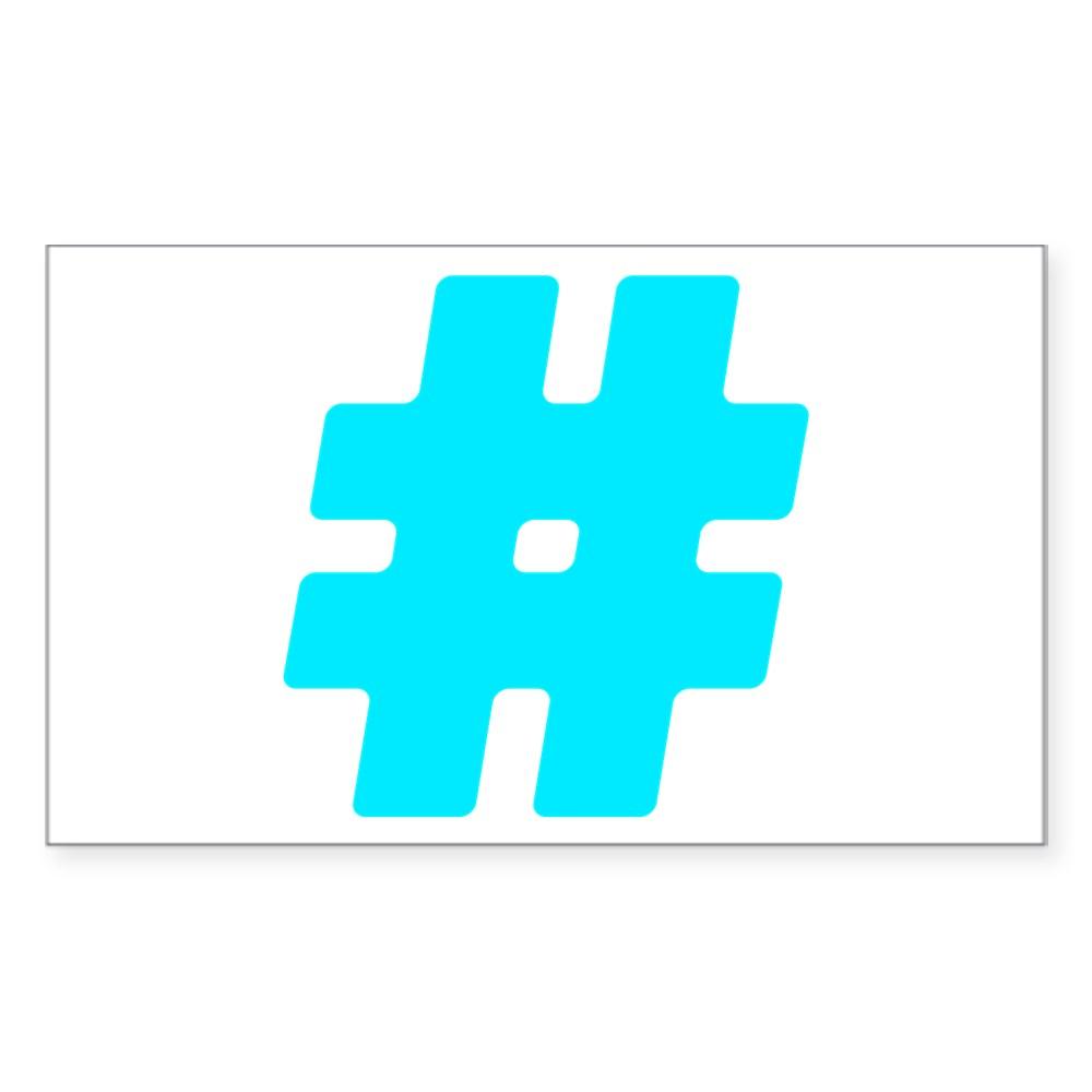 Turquoise #Hashtag Rectangle Sticker
