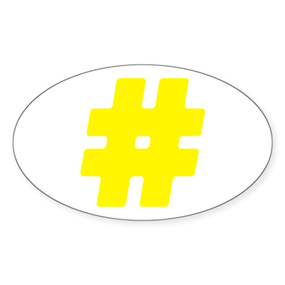 Yellow #Hashtag Oval Sticker