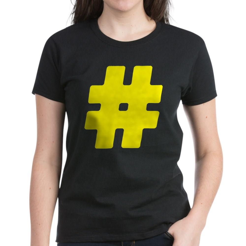 Yellow #Hashtag Women's Dark T-Shirt