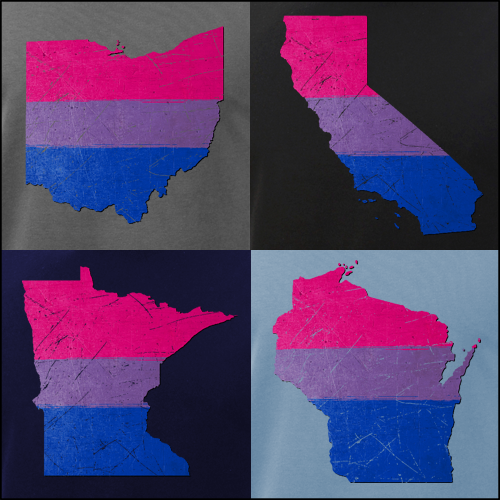 Bisexual Pride State Silhouettes