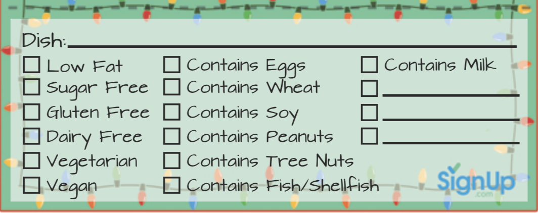 SignUp Dish Labels
