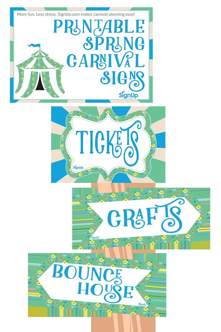 Free Printable Spring Carnival Signs