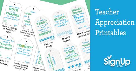 Free Teacher Appreciation Printables Signup Com