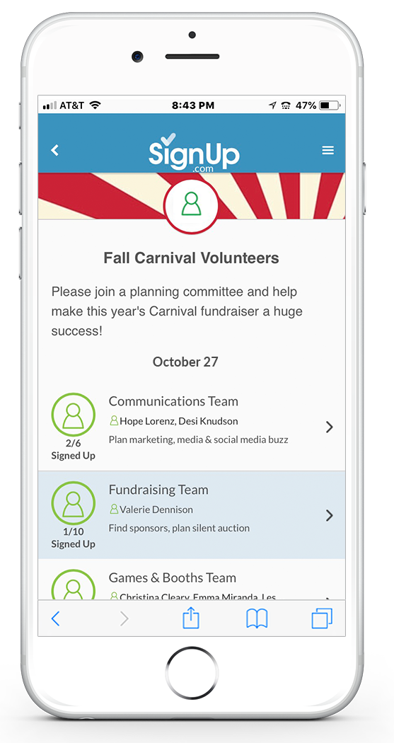Carnival Volunteer Online SignUp Sheets