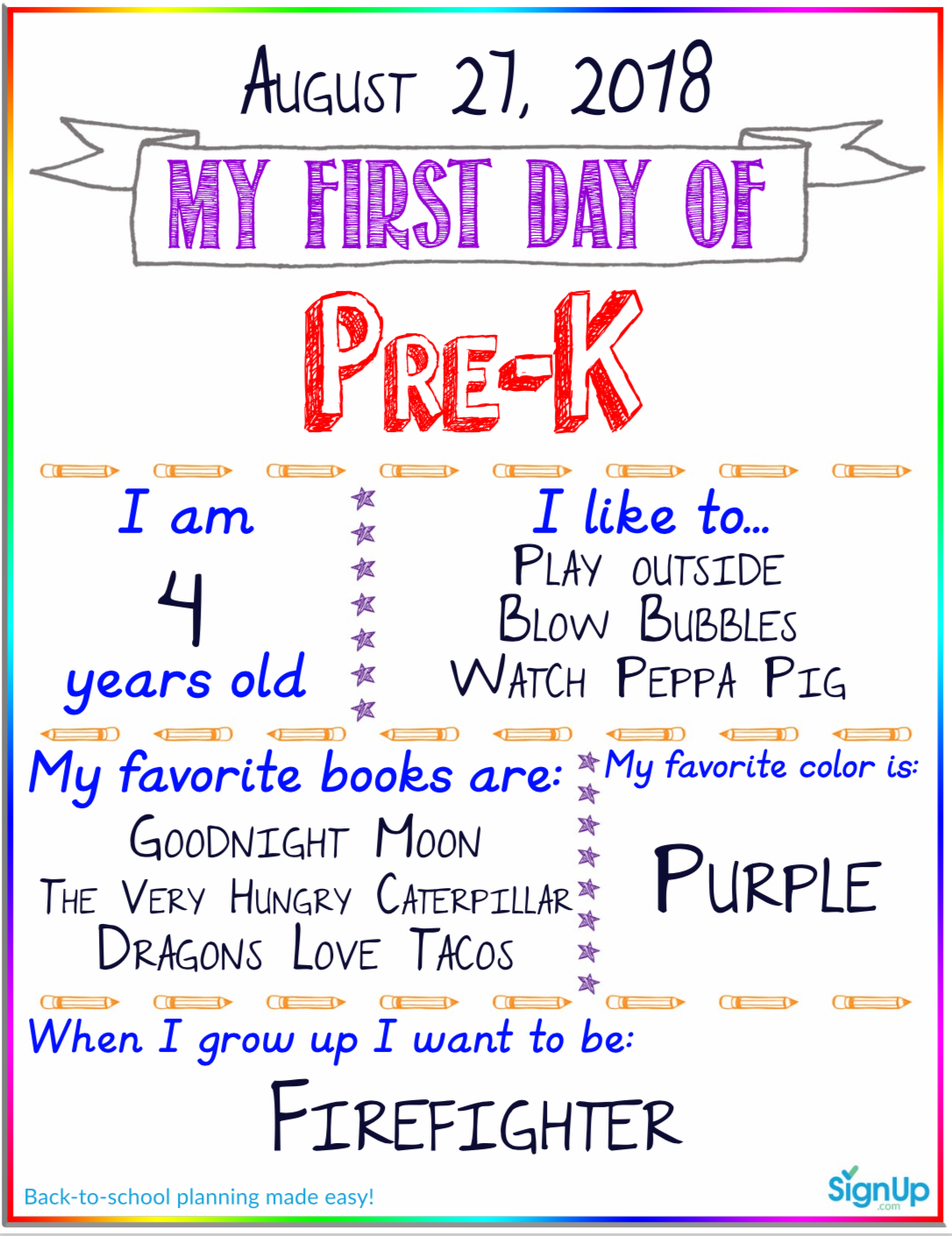 picture about First Day of Pre K Sign Printable referred to as The Ought to Contain Back again-in direction of-College Printable for the Very first Working day of