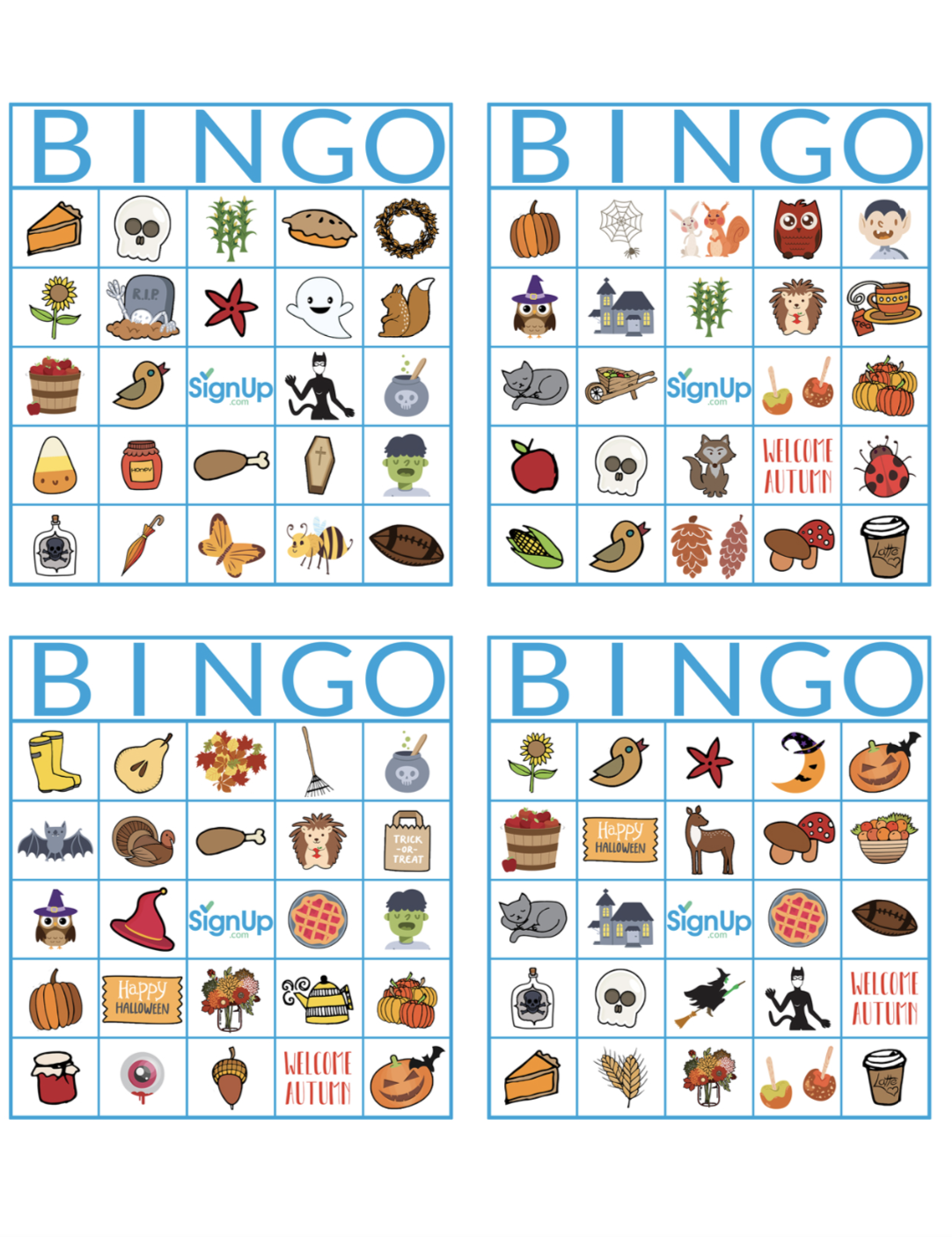 photo relating to Fall Bingo Printable named Printable Bingo Playing cards: Pleasurable Slide Clroom Celebration Match