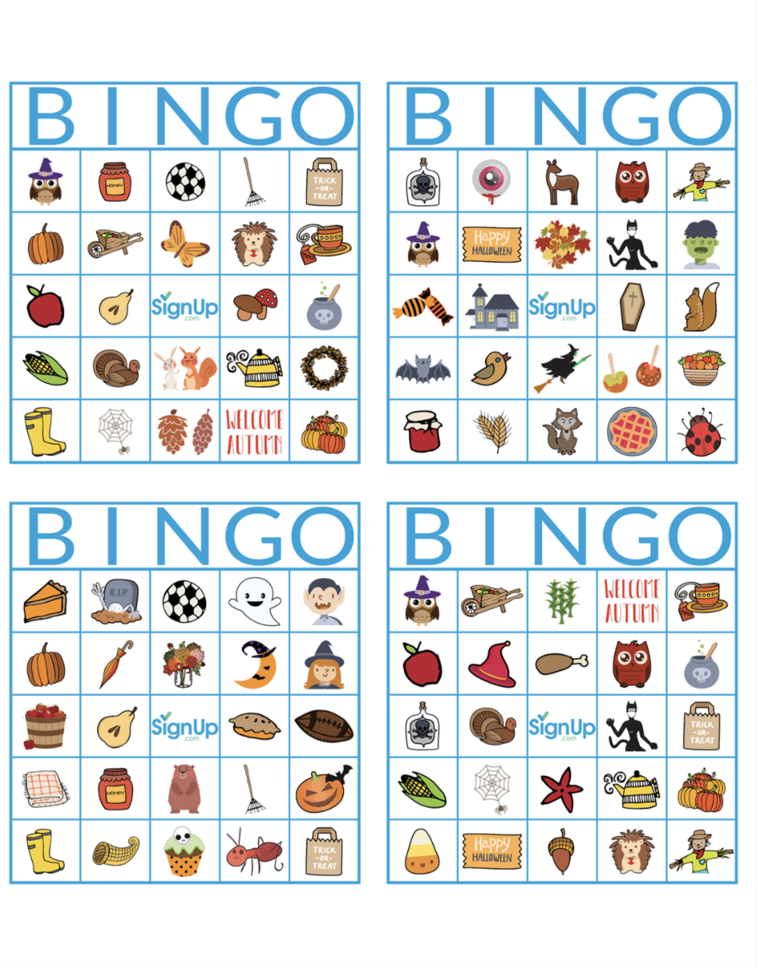 Adorable image within fall bingo printable