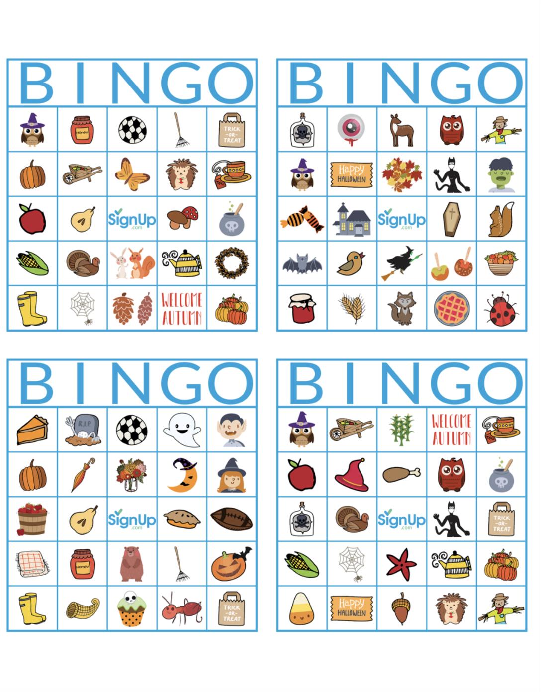 Priceless image throughout fall bingo printable