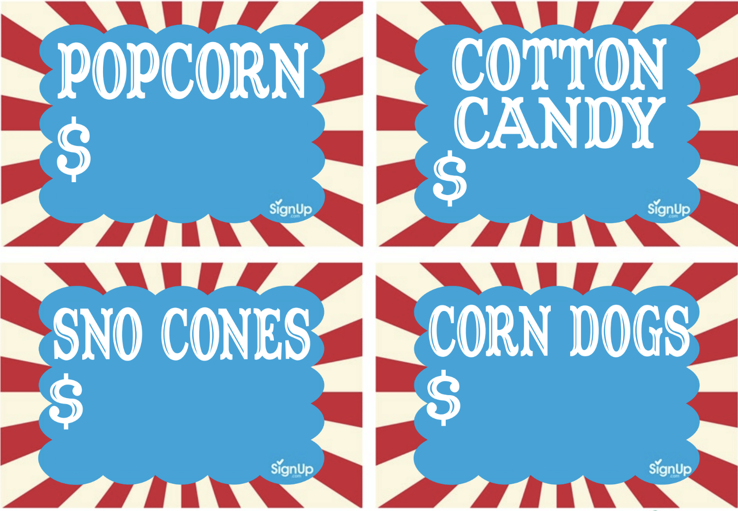 Printable Carnival Food Booth Signs