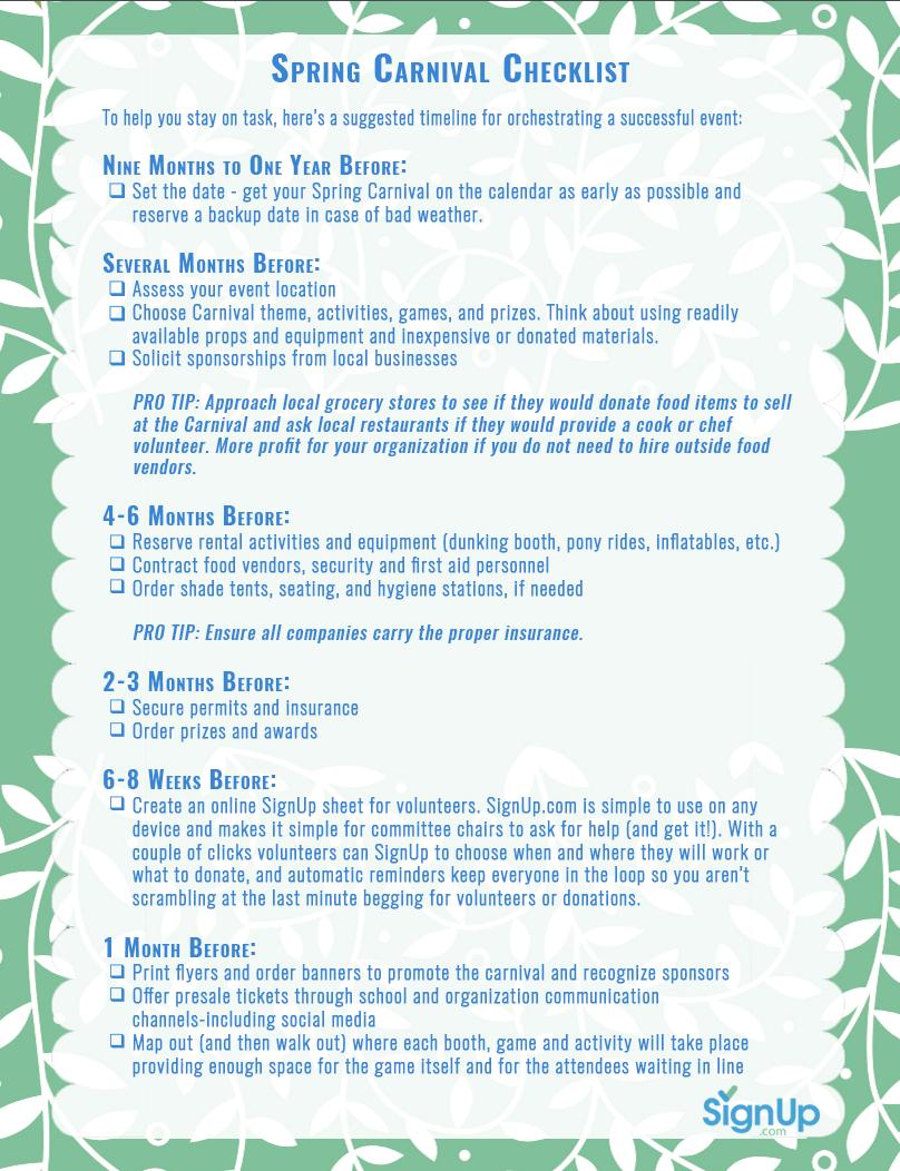 Spring Carnival Checklist